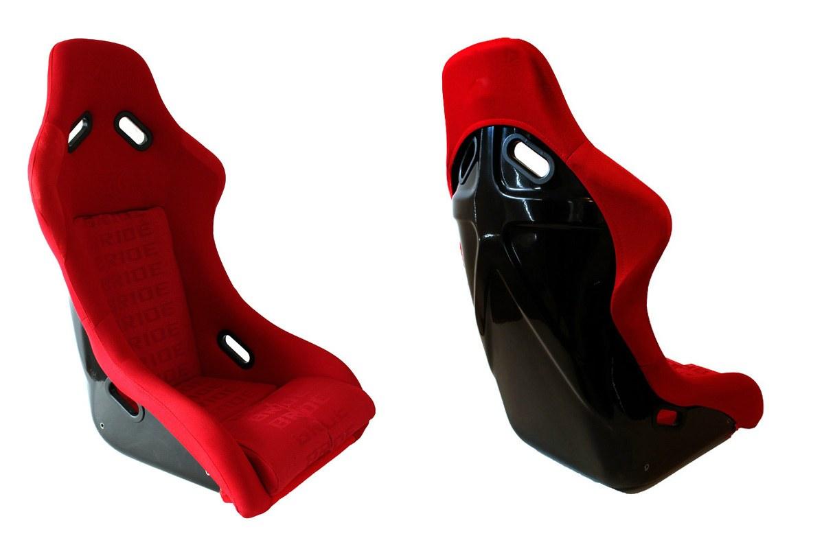 Fotel sportowy EVO Welur Red - GRUBYGARAGE - Sklep Tuningowy